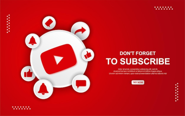 Botão de inscrição do youtube com fundo vermelho