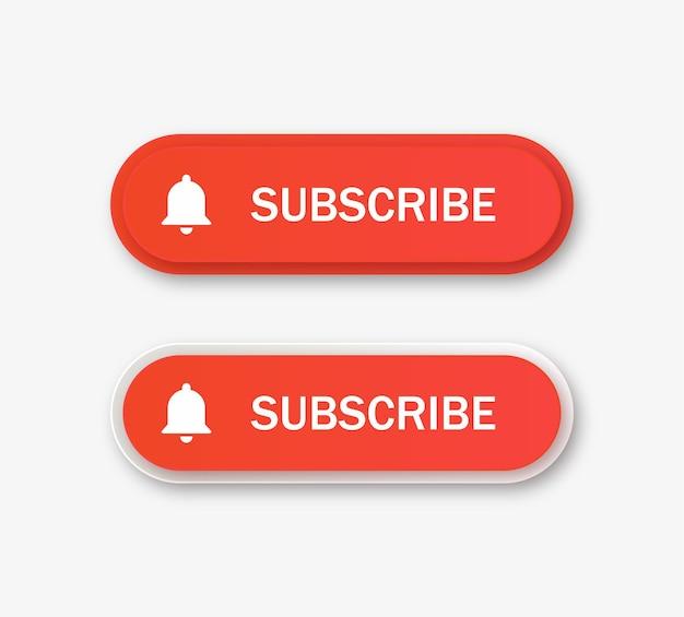 Botão de inscrição do youtube com ícone de sino de notificação em banner moderno