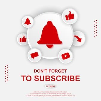 Botão de inscrição no youtube com ilustração de sino