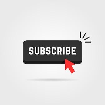Botão de inscrição preto com sombra. conceito de feed de dados, fluxo, jornal, marca de anúncio, suporte, sub, navegação, tablóide. ilustração em vetor design de logotipo de arte gráfica tendência estilo plano em fundo cinza