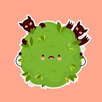 Botão de maconha de erva daninha com medo. desenho de adesivo de ilustração de personagem de desenho animado