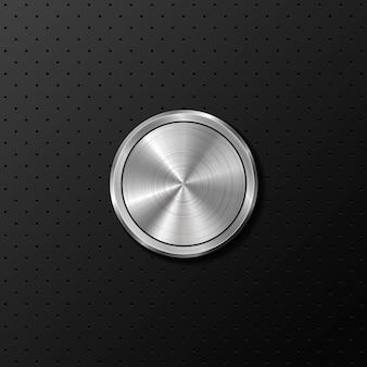 Botão de metal em fundo preto de ferro