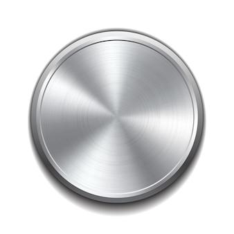 Botão de metal realista com processamento circular. ilustração