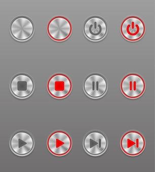 Botão de mídia de metal definido na posição ligado e desligado em cinza