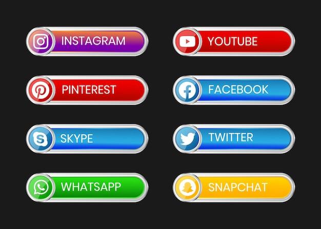 Botão de mídia social com moldura prata brilhante