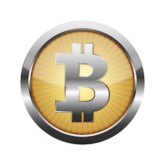 Botão de moeda bitcoin 3d