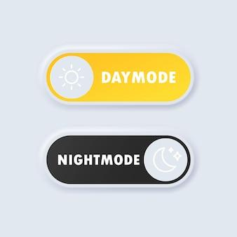 Botão de mudança de dia / noite ou modo diurno e modo noturno botão de interruptor em design de neumorfismo ou no interruptor de desligar. neumórfico