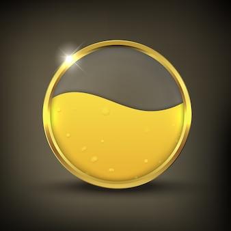 Botão de óleo dourado em fundo preto