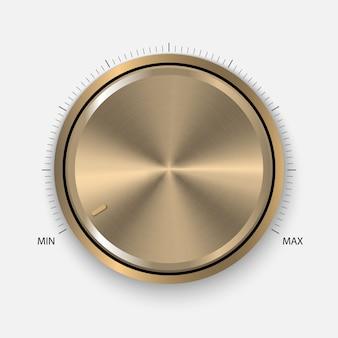 Botão de ouro realista com processamento circular.
