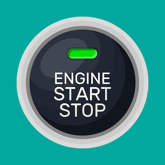 Botão de partida e parada do motor com luz. arranque do motor do carro. interruptor moderno de partida e parada para veículos motorizados. elemento do painel do automóvel. ilustração vetorial em estilo simples