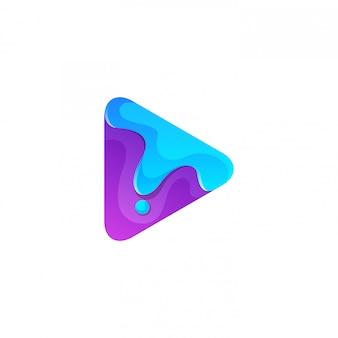 Botão de play roxo abstrato com logotipo derretido