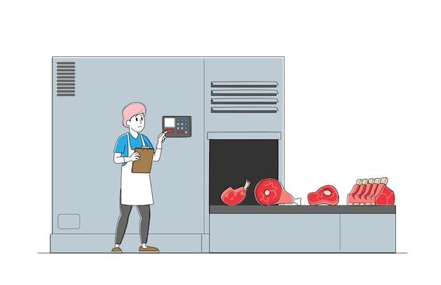 Botão de pressão do personagem masculino trabalhador de fábrica de carne para correia transportadora de controle com produção de carne bovina.