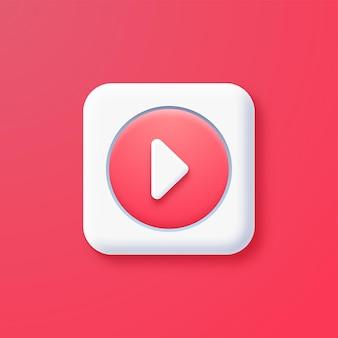 Botão de reprodução 3d em rosa