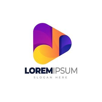 Botão de reprodução de logotipo de reprodução de música com modelo de logotipo gradiente de melodia