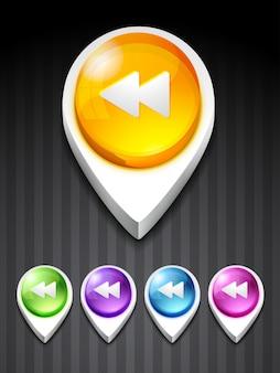 Botão de retrocesso de vetor ícone de estilo 3d