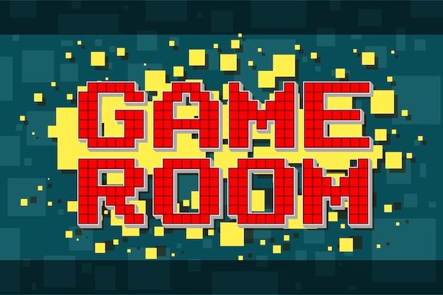 Botão de sala de jogo retrô pixel vermelho para jogos de vídeo