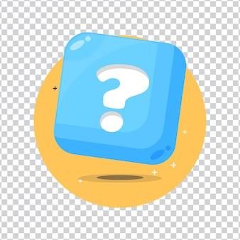 Botão de sinal de pergunta em fundo em branco
