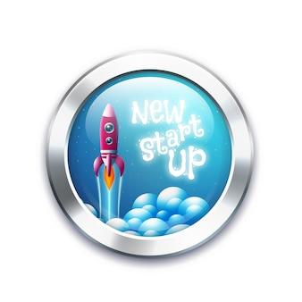 Botão de start up de novo projeto de negócios mostrando um foguete com turbocompressor voando pelo céu azul ao lado do texto - new start up - botão redondo com moldura metálica prateada