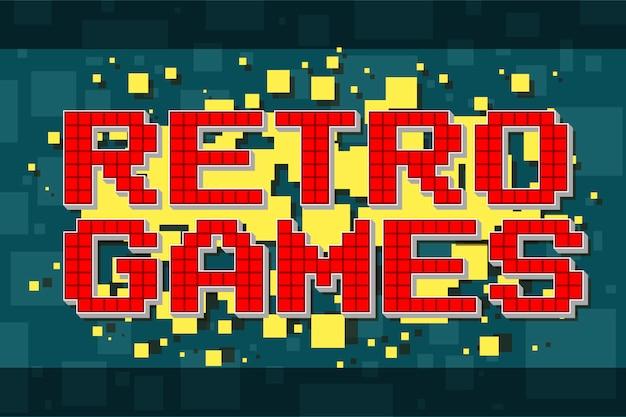 Botão de texto retrô de pixel vermelho para videogame