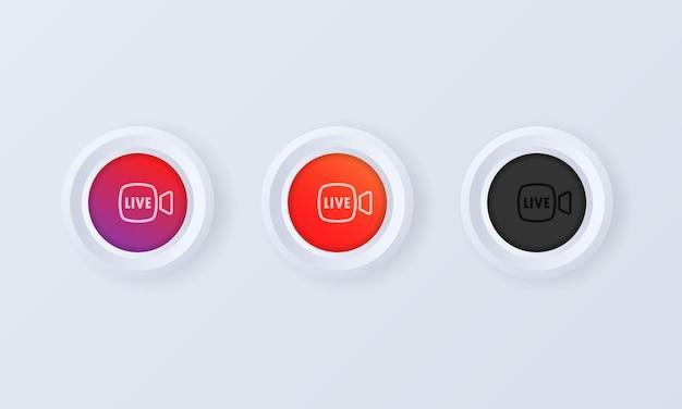 Botão de transmissão ao vivo em ilustração de estilo 3d