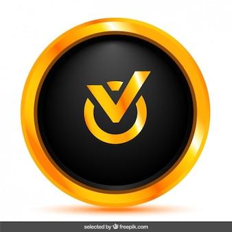 Botão de verificação preto