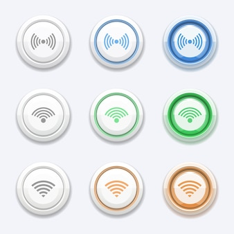 Botão de vetor com ícone de wi-fi ou sem fio. estação de zona, transmissão de acesso, roteador gratuito e ponto de acesso