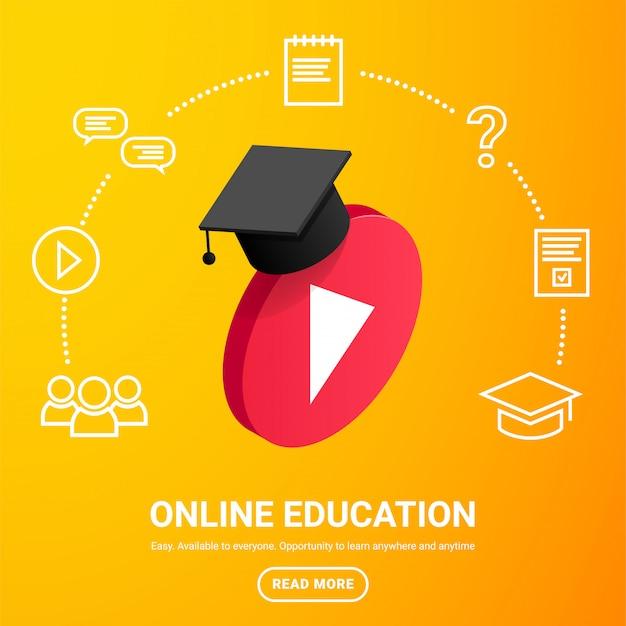 Botão de vídeo jogo isométrico com chapéu de formatura, ícones ao redor e texto em fundo gradiente amarelo. conceito de design de aprendizagem on-line. ícone de educação a distância áudio player de vídeo. ilustração
