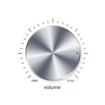 Botão de volume, controle de som, botão de música com cromo de metal