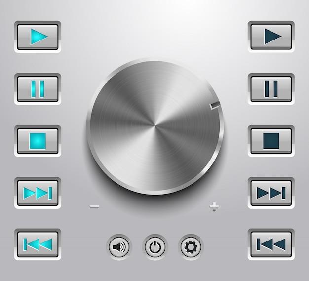 Botão de volume de metal e botões de ajuste de volume