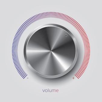 Botão de volume realista com textura de metal e escala de gradiente, ilustração vetorial