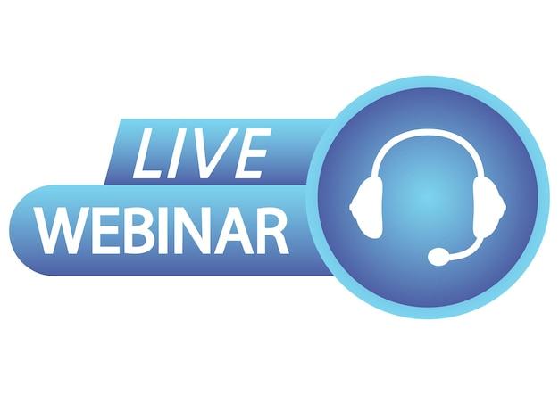 Botão de webinar ao vivo ícone de gradiente de cor azul para conferência em grupo de curso on-line na internet