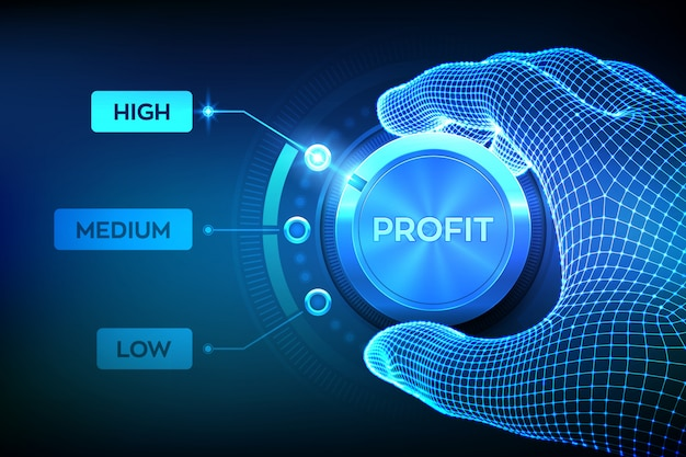 Botão do botão de níveis de lucro. aumento do nível de lucro. wireframe mão definindo o botão de lucro na posição mais alta.
