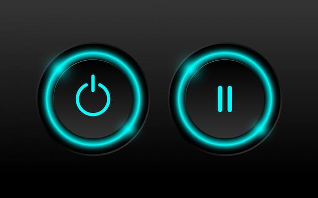 Botão do poder e de pausa 3d com iluminação de néon.