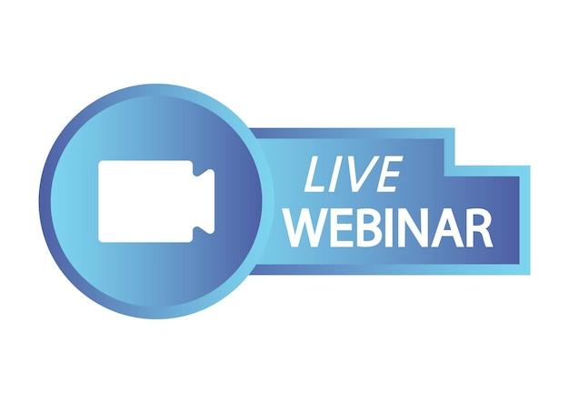 Botão do webinar ao vivo webinar ao vivo com o ícone de transmissão do símbolo da câmera