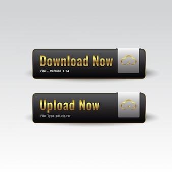 Botão download e upload premium preto e branco brilhante