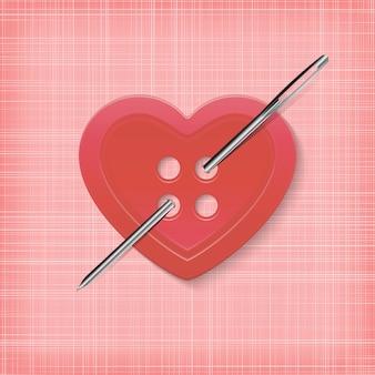 Botão em forma de coração com uma agulha em um fundo listrado