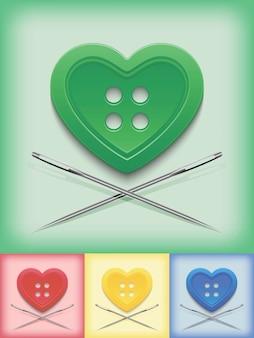 Botão em forma de coração e agulhas cruzadas