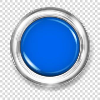 Botão grande de plástico azul com borda metálica prateada