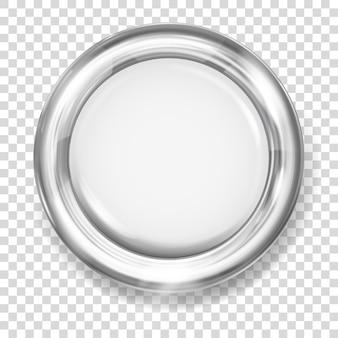 Botão grande de plástico branco com borda metálica prateada