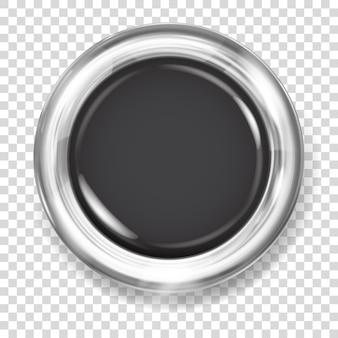 Botão grande de plástico preto com borda metálica prateada