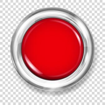 Botão grande de plástico vermelho com borda metálica prateada
