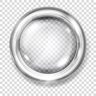 Botão grande de vidro transparente com borda metálica prateada