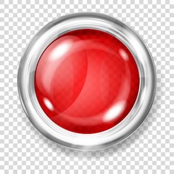Botão grande de vidro transparente vermelho com borda metálica prateada