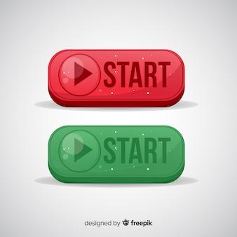 Botão iniciar vermelho e verde