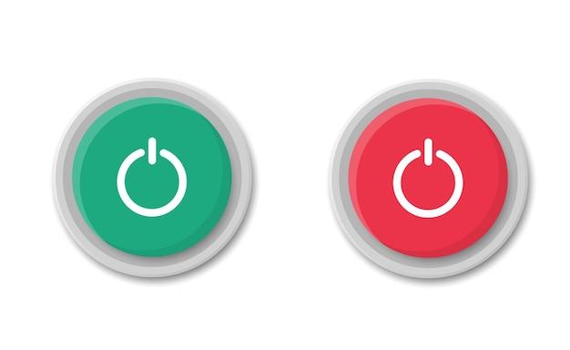 Botão liga e desliga. botões redondos vermelhos e verdes. comece e pare. alternar ícones do interruptor.
