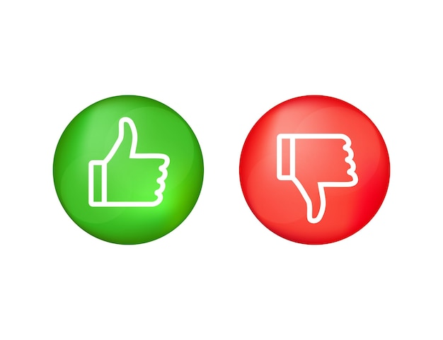 Botão liso verde sobre fundo vermelho. ok, sinal. trumb up, ótimo design para qualquer finalidade. conceito de mídia social. ilustração de estoque vetorial Vetor Premium