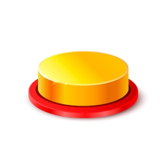 Botão objeto 3d de ouro no fundo branco. ilustração vetorial