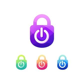 Botão off off cadeado conjunto de logotipo