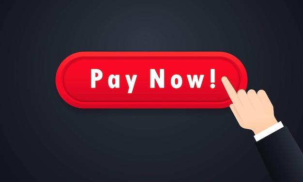 Botão pagar agora ou comprar conceito e comércio eletrônico online
