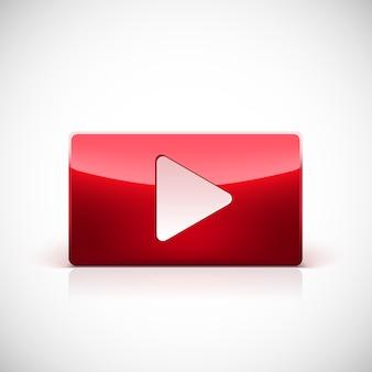 Botão play, botão vermelho brilhante com triângulo branco virado para a direita